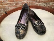 Kathy Van Zeeland Lara Bronze Jeweled Chain Loafers New