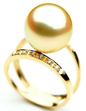 $7,799 Pacific Pearls® AAA 14mm Australian Golden  South Sea Pearl Diamond Ring
