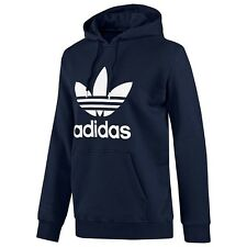 ADIDAS ORIGINALS MENS TREFOIL FLEECE HOODY OVERHEAD NAVY BLUE S M L XL CASUAL