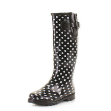 Womens Ladies Black White Spot Dots Wellies Festival Wellington Boots Size 3-8
