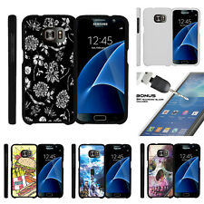 For Samsung Galaxy S7 G930 Snap On 2 Piece Case + Tempered Glass - White Floral