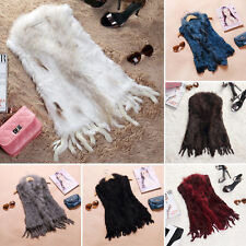 Real By Hand Knitted Rabbit Fur Just Coming Waistcoat/Vest/Gilet Tassel Fur Coat