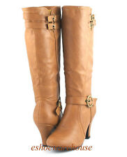 Cognac Tan  Awesome Cutie Pie Comfy Mid Heel 3 Belt Strap Dress Knee Boots