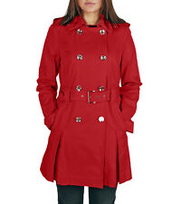MICHAEL MICHAEL KORS Women's Red Belted Double Breasted Trench Rain Coat Jacket