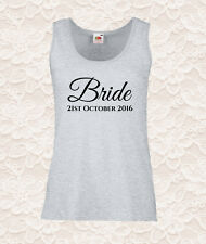 Bridal Personalised Printed Ladies Fit Tank Top, Vest. Wedding Day - Hen Do