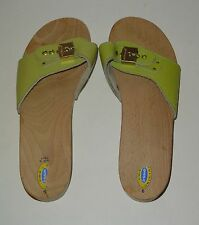 Dr Scholls Original Exercise Sandals Lime Green Leather Made In Italy Sz 9