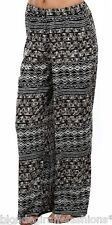 Black/Brown/White Multi Zig-Zag Chevron Tribal Wide Leg Long Pants/Palazzo S