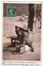 VINTAGE FRENCH RP POSTCARD,CHILDREN PLAYING IN THE SNOW,c1910s