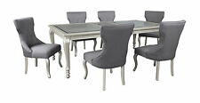 Ashley 7Pc Coralayne Silver Finish Dining Table Upholstered Chairs Set