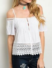 White Wide Eyelet Cut-Out Lace Off/Open Shoulder Short Sleeve BlouseTop