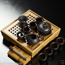 Chinese yixing zisha purple clay tea set pot cups gaiwan bamboo tea tray table