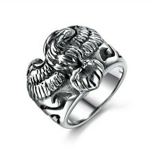 Sz 8-13 Fashion 316L Stainless Steel Silver Tone Soaring Eagle Motorcycle Ring