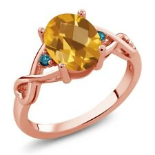 1.36 Ct Oval Checkerboard Yellow Citrine Blue Diamond 18K Rose Gold Ring