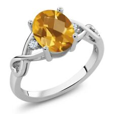 1.39 Ct Oval Checkerboard Yellow Citrine 18K White Gold Ring