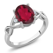 1.89 Ct Oval Red Mystic Quartz 14K White Gold Ring