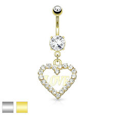 CZ Hollow Heart 14K Gold Plated Surgical Steel Navel Belly Button Ring 14g