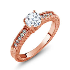 0.85 Ct Round White Created Moissanite Diamond 18K Rose Gold Plated Silver Ring