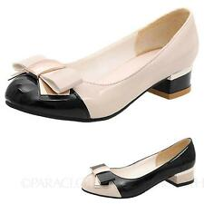 patent Glamour Low heel Womens ladies High Heels Shoes Size 4 5 6 7 8 9 10