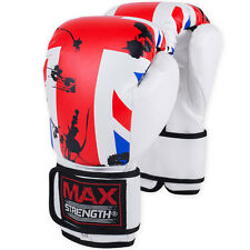 UK Flag Boxing Gloves Sparring Punch Bag Fight Mitts Rex Leather MMA 4oz to 10oz