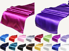"""18 Colors Satin Table Runner 12"""" x 108"""" Wedding Decoration Supply Party 5PCS"""
