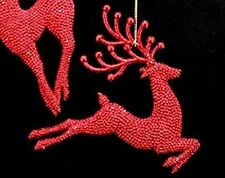 Gorgeous Gisela Graham Red glittery reindeer Christmas Tree Decoration 16301