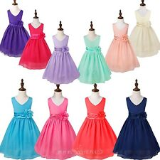 Flower Girl Tulle Dress Kids Xmas Party Pageant Ball Gown Birthday Gift Dress Up