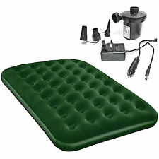 Double Or Single Green Airbed With Electric Air Pump 12v +240v Camping Guest Bed