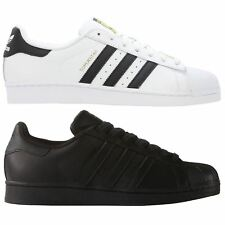 ADIDAS ORIGINALS MENS SIZE 9 10  SUPERSTAR FOUNDATION TRAINERS SHOES BLACK WHITE