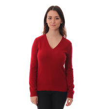 New Ladies Luxury Soft Ladies Cashmere Jumper - V-Neck in Tango Red