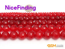 """Round Faceted Red Jade Stone Beads For Jewelry Making 15"""" 4,8,10,12,14,16,18mm"""