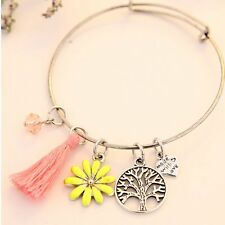 Tree Flower Heart Tassels Birthstone Love Charms Expandable Wire Bracelet Bangle