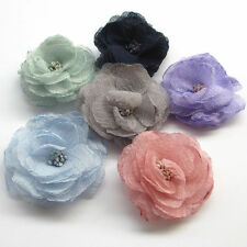 6/30pcs Big Chiffon Ribbon Flowers Bows Appliques Wedding Craft Mix Lots A0522