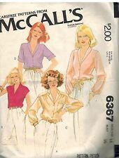 6367 Vintage McCalls Sewing Pattern Misses Set of Buttoned Blouses Top Shirt OOP