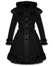 Punk Rave Dolly Coat Black Fur Lace Trim Hooded Goth Lolita Winter Jacket