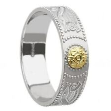 Ladies Silver Irish Celtic Warrior Shield 6mm Band Ring Celtic Jewellery Boxed