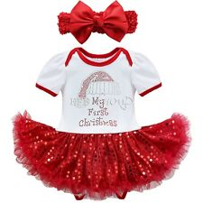 My First Christmas Infant Baby Girl Santa Romper Sequins Tutu Dress Outfit Set