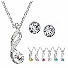 Lady Wedding Crystal Rhinestone Pendant Necklace Ear Studs Earrings Jewelry Set