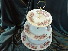 EXCELLENT  COLCLOUGH  CHINA PLATED 3 TIER CAKE STAND'WAYSIDE'