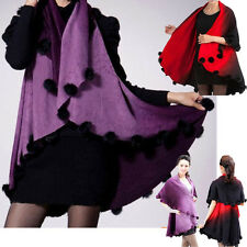 Vintage Womens Ladies Loose Wool Balls Knit Sweater Cardigans Cape Shawl Scalf