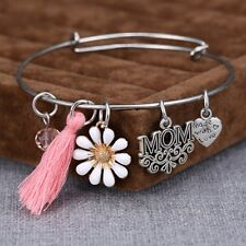 Mom Gift Flower Heart Tassels Birthstone Charms Expandable Wire Bracelets Bangle