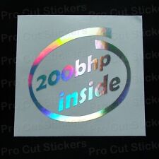 Custom BHP or text inside Silver Hologram Neo Mirror Chrome Stickers Decals JDM
