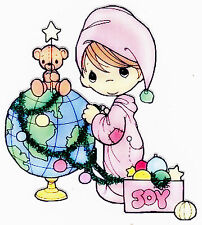 """6-9""""  PRECIOUS MOMENTS BOY HOLIDAY WALL STICKER GLOSSY BORDER CHARACTER CUT OUT"""