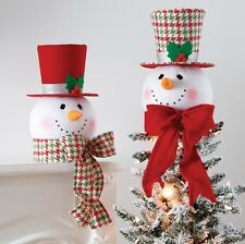 """RAZ~15"""" Christmas Holly/Houndstooth Snowman Head/Top Hat Tree Topper~Ornament"""