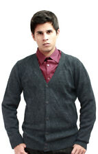 Mens Alpaca Wool Knitted V Neck Golf Cardigan Sweater Button Down Diamond Design