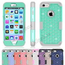 Blingbling Crystals Diamond Heavy Duty Hybrid Shockproof Case Cover for iPhone