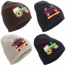 Childrens/Boys Embroidered Fleece Lined Winter Beanie Hat