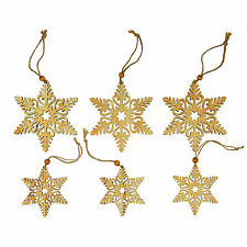 Snowflake Wooden Christmas Tree Decorations Xmas Rustic Wood Finish 3 pack