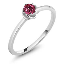 0.15 Ct Round Pink Tourmaline 10K White Gold Solitaire Engagement Ring