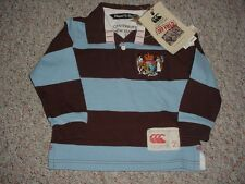 NEW BOYS CANTERBURY OF NEW ZEALAND RUGBY SHIRT POLO BROWN BLUE STRIPED SIZE 2