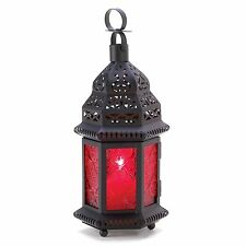 BULK LOTS Small Black Iron Moroccan Style Candle Lanterns with Red Glass Panels